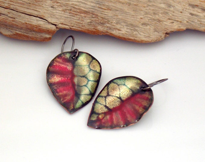 Featured listing image: Red and Black Leaf Earrings, Metallic Copper Enamel Dangles, Vitreous Enamel Abstract Leaves, OOAK Gift for Her, Ready to Ship