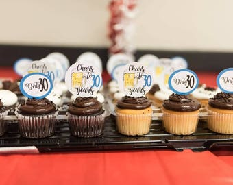 Cheers to (#) years cupcake toppers. Beer cupcake toppers
