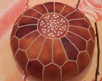 Artisanal Leather Pouf HANDMADE Ottoman Moroccan pouf Leather Authentic