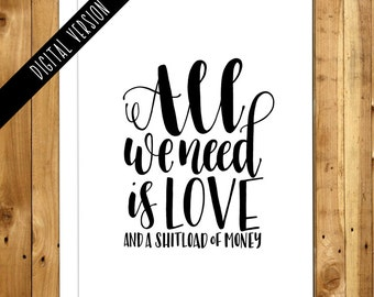 Printable Anniversary Card - Printable Love Card - Digital Valentines Day Card - Valentine Printable Card - All We Need Is Love