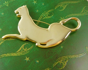 Vintage brooch / Gold Panther / animal Brooch / Vintage Cat / Large jewelry / womens Birthday / mens lapel pin / Anniversary gift