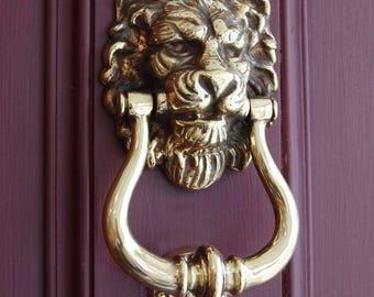 Antique Brass Lion's Head Door Knocker