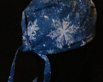 Blue Winter Snowflake Scrub Hat