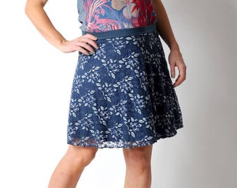 Blue lace skirt, Blue and silver short skirt, jersey and lace, Womens skirts, MALAM, Short flared skirt, Womens clothing