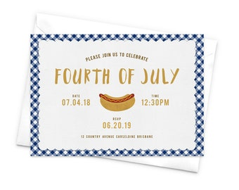 Fourth of July Party Invitation BBQ Invitation Gingham Pattern Barbecue Invitation Hotdog Invites Cookout Party Frankfurter Wiener Sausage