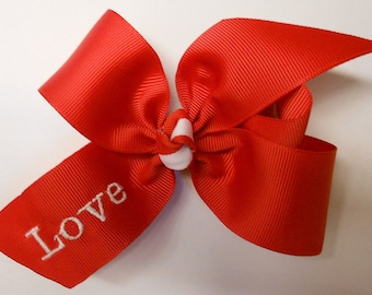 Valentines Hair Bow, Girls V-day, Boutique Bows, Red Gift Idea, Monogram Boutique, Custom Hairbow, Embroidered Gifts, Ribbons Clips, Baby