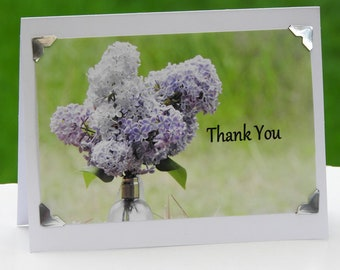 Spring Lilacs Thank You Greeting Card Blank inside Thank You Photo Greeting Card Spring Flowers Photo Greeting Thank You Card Lilac Photo