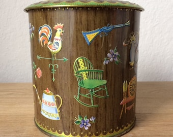 Vintage Daher Tin Canister, Mid Century Metal Container