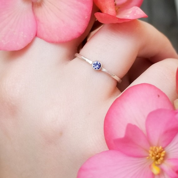 Iolite Sterling Silver Ring, Water Sapphire Gemstone Stackable Ring, Stacking Promise Ring, Natural Lolite Jewelry, Blue Violet Gem, Gift