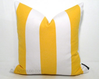 SALE - Yellow & White Striped Outdoor Pillow Cover, Decorative Pillow Case, Lemon Yellow Canopy Stripes, Cushion Cover, Stripe