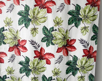 Vintage 50's 60's floral barkcloth white with red and green animated pinwheel flowers