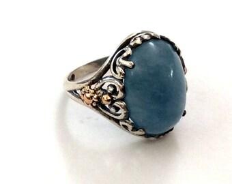 Aquamarine ring, silver yellow gold ring, two toned ring, hippie ring, Gypsy Ring, tribal gemstone ring, bohemian ring - Spring time.R2165