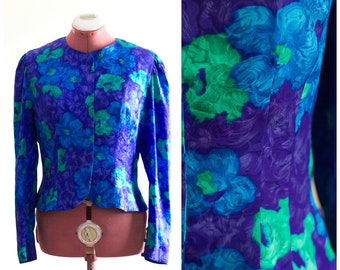 1990s floral print silk blouse with no collar in purple and blue
