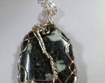 Handcrafted Wire Wrapped Preseli Bluestone Pendant,Boho,Unisex,Yoga Jewelery,Healing Crystal,Stonehenge,Mystical,Celtic Jewelery,Christmas