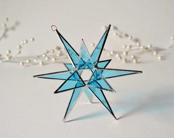 12 Point Moravian Star. Light Blue Star. Stained Glass Star. 6,5""
