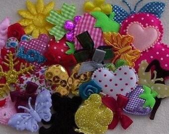 set of 30 embellishments scrapbooking fabric hearts, butterflies flowers hearts