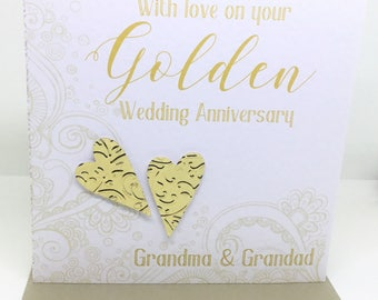 Personalised Handmade Golden Wedding Anniversary Card (50 years)