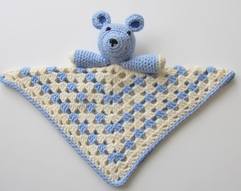 Security Blanket Bear For Baby Boys, Blue and White Lovey Blankie, Made in USA