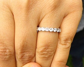 2 Carat Women's 14k solid white gold round cut moissanite band anniversary deco modern eternity bridal prong
