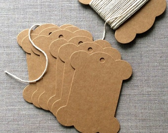 20 Scalloped Thread Spool Cards, Thread spool gift tags, ribbon cards, bobbin gift tags