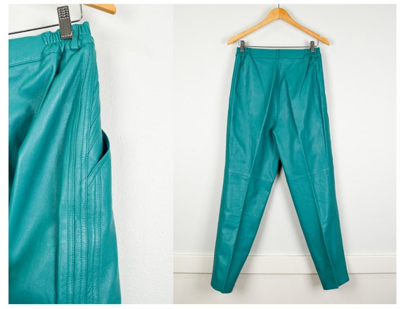 High Leather Medium Clothing Pants Clothing Colored Vintage Leather Mohair Clothes 80s 80s Outfit Leather Pantsuit Waist 80s Party OCS00q