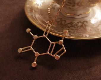 Caffeine necklace,Chemistry necklace,molecule necklace,geometrical Necklace,best friend gift,tea necklace,coffee,science,pendant jewelry