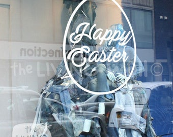 Happy Easter Egg, Decorative Glass Shop Kids Window Display, Removable Sticker Australian Made