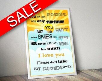 Wall Art You Are My Sunshine Digital Print You Are My Sunshine Poster Art You Are My Sunshine Wall Art Print You Are My Sunshine Love Art