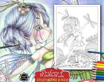 Fairies Coloring Pages for Adults - Playing with Dragonflies - Adult Coloring Book,  Fairies Coloring Book, Fantasy Coloring Book