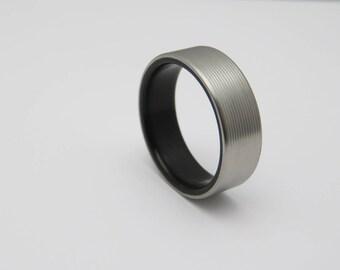 Titanium and wood wedding ring  waterproof Ebony wood