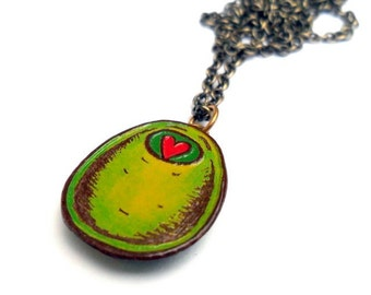 Olive You Necklace, Green Olive with Red Heart Pimento, Valentine's Day Gift, Wife Gift, Girlfriend Gift, Anniversary Gift