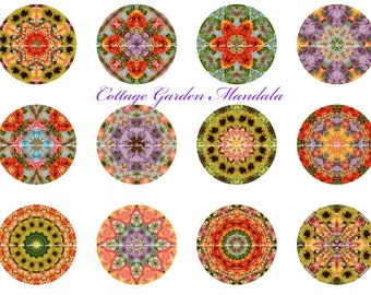 FLORAL MANDALA Pinback Buttons and Magnets 1 inch Flatback Buttons for Jewelry Design Hair Bow Supply Mandala Party Favors