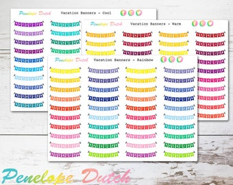Vacation Banner Planner Stickers | Rainbow, Cool and Warm