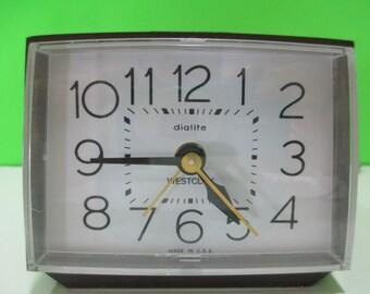 WESTCLOX DIALITE ALARM Clock Brown, Vintage Westclox, Vtg Alarm Clock, Vintage Dialite Alarm, Westclox Alarm Clock, Westclox Model 22212