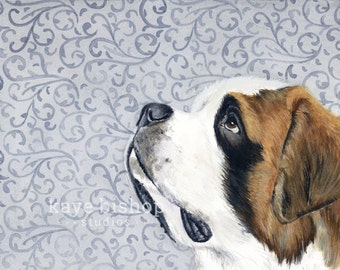 St Bernard Watercolor Painting, Animal Art, Bernard Painting, Bernard Watercolor, Bernard Art, Dog Art, St Bernard, St Bernard Print, Art