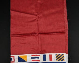 Vintage Border Print Fabric Nautical 60s Flags Red Lowenstein Print Mid Century 60s