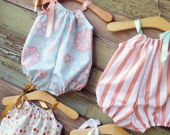 Bubble Romper, Sunsuit, summer Outfit, Spring baby clothes, Coral, Gold, Playsuit, cake smash outfit, coming home outfit, beach romper