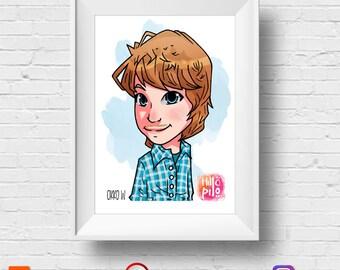 Custom  Caricature CHIBI CARTOON PORTRAIT As Personalized Gift (For Birthday, Anniversary, Wedding, Christmas, Thanksgiving, Nursery Art)