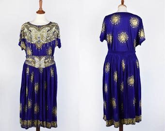 Blue and Gold Sequined and Beaded Skirt and Top with Butterflys