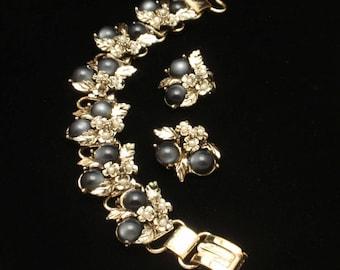 Charcoal Moonglow Stones Bracelet and Earrings Set Vintage