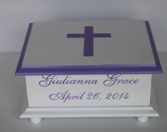 Baby Keepsake Box Baby Christening Confirmation gift for girl Lavender cross hand painted personalized baby gift memory box
