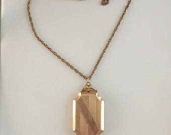 Deco Gold filled Octagon Locket