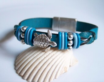 Teal Twisted Leather Turtle Focal Bracelet - Item R6243
