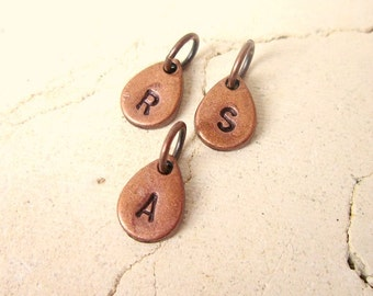Initial Stamped Copper Charm Add On for Personalized Jewelry