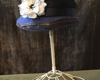 Blue Felt Cloche, SOLD**** Felt Hat, Blue Hat, Blue Cloche with Flower, Hand Blocked Hat, Cloche