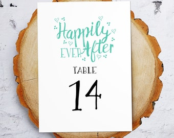 Table Numbers / Happily Ever After / Fairytale Wedding Table Numbers / 1-20  / Mint  / Instant Download