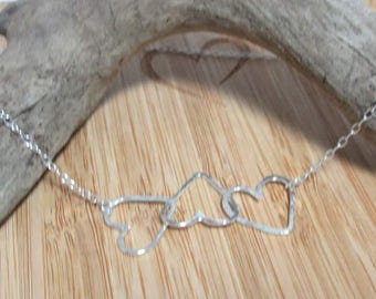 Sterling silver 3 interlocking hearts