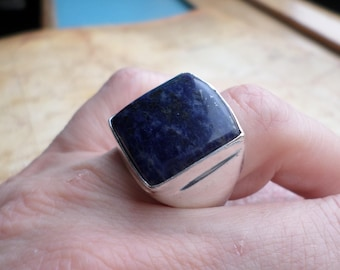 RING 925 sterling silver plated and Lapis Lazuli (BA80)