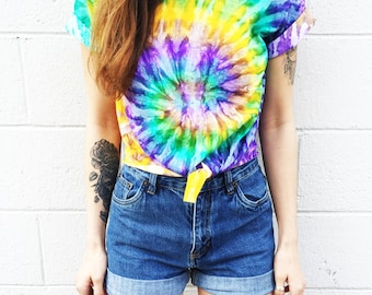 Crop Top Tie Dye Tee Women's Clothing Music Festival Clothing  Fashion Summer Wear Tshirt « cd100mardigras «« (ots, td tee) «