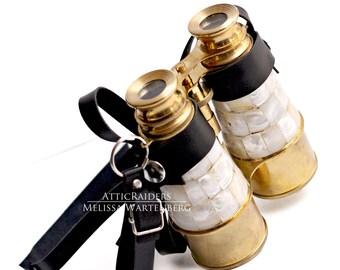 Vintage Binoculars , Pearl binoculars , Travel Gifts , Travel Accessories , Mens Gift , Alternative Wedding , Brass Binoculars , Replica